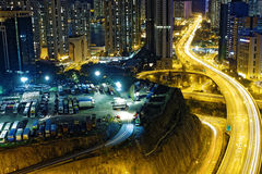 Busy traffic night in finance urban Royalty Free Stock Photography