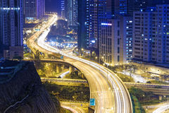 Busy traffic night in finance urban Stock Photography