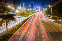 Busy traffic at night in guangzhou Royalty Free Stock Image