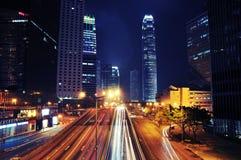 Busy Traffic at night - Hong Kong. Busy Traffic at night, in Central, Hong Kong Royalty Free Stock Image