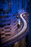 Busy traffic at night. Long exposure of cars on a busy overpass in Hong Kong at night Stock Images