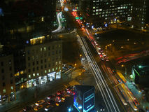 Busy Traffic at night in Manhattan, NYC. Canal Street, New York City at night, winter 2014 stock photo