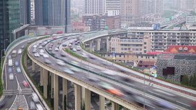 Busy traffic over overpass in modern city, Shanghai, China stock video footage