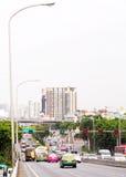 Busy traffic on The PHRA PIN-KLAO Bridge, a bridge over the CHAO PHRAYA River in BANGKOK Stock Images