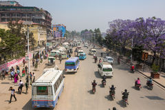 Busy traffic on the roads of Kathmandu, Nepal. Royalty Free Stock Images