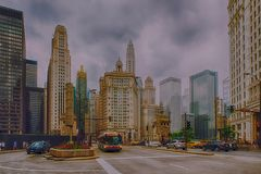 Busy traffic scene with a lot of cars in downtown Chicago Stock Photography