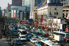 Busy traffic in Shanghai Stock Images