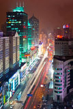Busy traffic at Shanghai. The busy traffic at Shanghai at night Stock Images