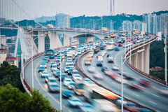 Busy traffic stream closeup Royalty Free Stock Photos