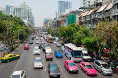 Busy Traffic on a Typical Urban Street in Downtown Bangkok, Thai Stock Images