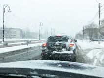 Busy traffic in winter season Royalty Free Stock Photography