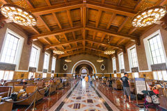Busy Train Station. In the heart of Los Angeles, This train station is a thing of beauty, with it's classic art deco style, and it's timeless style. This is the Stock Photography