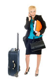 Busy travel woman Royalty Free Stock Image