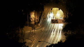 Busy Tunnel at Night. Busy Los Angeles Tunnel at Night stock footage
