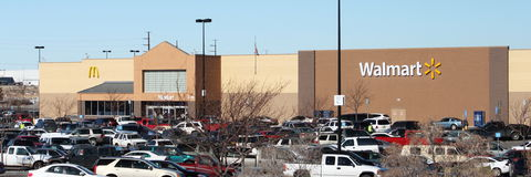 Busy Walmart Shopping Day. On Christmas Eve 2011 with packed parking lot Stock Photo