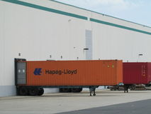 Busy warehouse in NJ, USA. Warehouse bays with inter modal containers being loaded or unloaded in NJ, USA Stock Photos