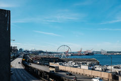 Busy waterfront at Seattle Washington Stock Photography