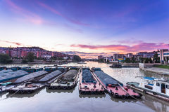 Busy waterway transport in china south Stock Photos