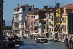 A busy waterway in Venice - Italy stock photos