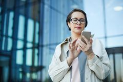 Busy woman checking email royalty free stock image