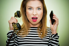 Busy woman on hotline Stock Image