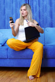 Busy woman with laptop Royalty Free Stock Photography