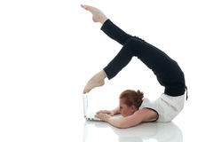 Busy woman posing with notebook in unreal pose. On white Royalty Free Stock Photos
