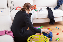 Busy woman is tired her workload Royalty Free Stock Photography