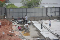 The busy workers on the construction site in shenzhen Stock Image