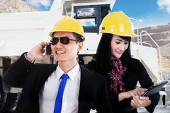Busy workers in the mining sites Stock Photography