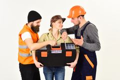Busy working. Professional working team. Construction workers team. Constructing engineers or architects. Construction. Technicians with building tools. Men and royalty free stock photos
