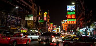 Busy Yaowarat Road in the evening Royalty Free Stock Photo