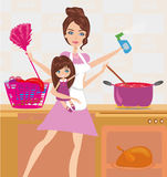 Busy young mother simultaneously doing many tasks Royalty Free Stock Photos