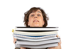 Busy young student woman Stock Image