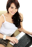 Busy young woman royalty free stock photography