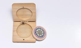 Butée de carambolage avec le cas en bois Image stock