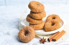 Butées toriques de cannelle, beignets fraîchement cuits au four couverts dans le mélange de sucre et de cannelle photo stock