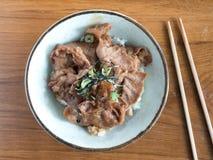 Buta Don: Cuenco japonés del cerdo y de arroz Foto de archivo