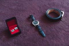 Buta zegarka krawata cufflinks Motyli fornal dla poślubiać fotografia royalty free