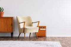 Butaca al lado del gabinete de madera con la planta en el vintage interior con el espacio de la copia Foto verdadera imagen de archivo