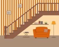 Butaca anaranjada, situada debajo de las escaleras libre illustration