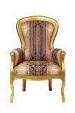 Butaca antigua clásica con la madera de oro aislada imágenes de archivo libres de regalías