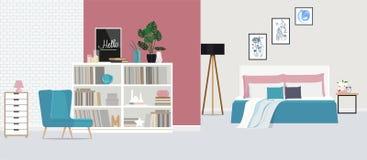 Butaca azul contra el contexto de una pared rosada en un dormitorio espacioso, brillante Ejemplo plano del vector fotografía de archivo