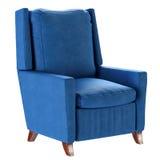 Butaca azul del estilo escandinavo simple con las piernas de madera Muebles suaves 3d rinden Fotografía de archivo