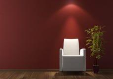 Butaca blanca del diseño interior en la pared de Burdeos Foto de archivo libre de regalías
