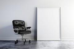 butaca 3d y marco blanco en blanco libre illustration