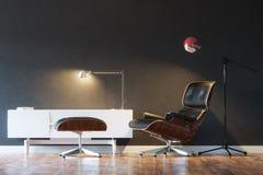 Butaca de cuero acogedora negra en la 1ra versión del interior moderno Fotografía de archivo