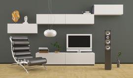 Butaca de cuero negra en diseño interior moderno Fotos de archivo