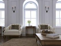Butaca de lujo dos en sala de estar clásica con el tableset stock de ilustración