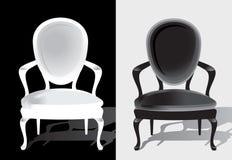 Butaca del vintage en color blanco y negro stock de ilustración